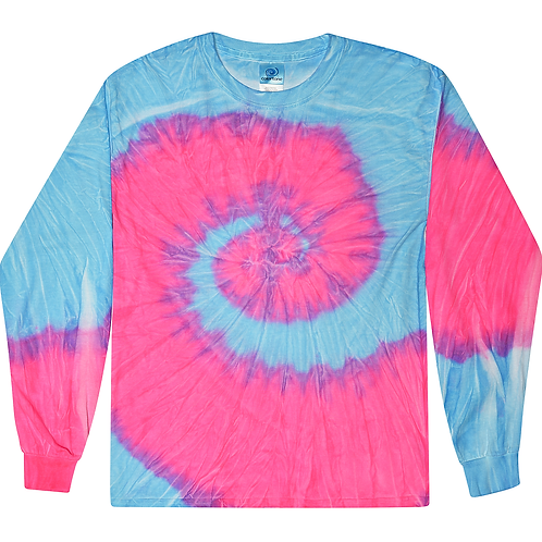 TRENDY-MULTI-NEON-BLUE & PINK-SPIRAL-PATTERN/TYE-DYED-PREMIUM-LONG-SLEEVE-TEES!!