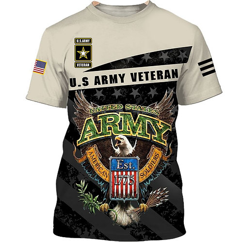 OFFICIAL-U.S.ARMY-VETERAN-MILITARY-TEES/CUSTOM-3D-PRINTED-ARMY-LOGOS-EST.1775!!