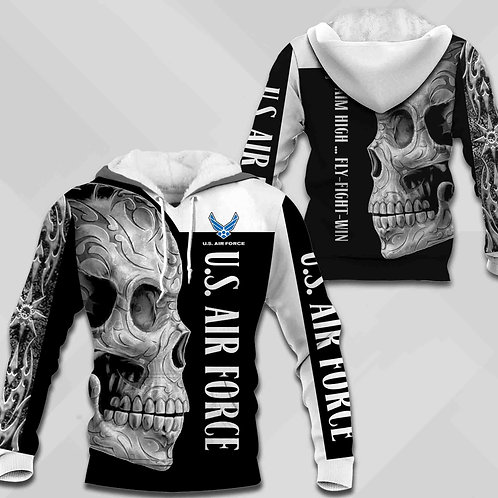 OFFICIAL-U.S.AIR-FORCE-PULLOVER-HOODIES/NEW-CUSTOM-3D-PRINTED-AZTEC-TRIBAL-SKULL