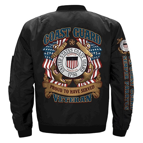 *OFFICIAL-COAST-GUARD-VETERAN-FLIGHT-JACKETS & SEMPER-PARATUS/3D-CUSTOM-PRINTED*