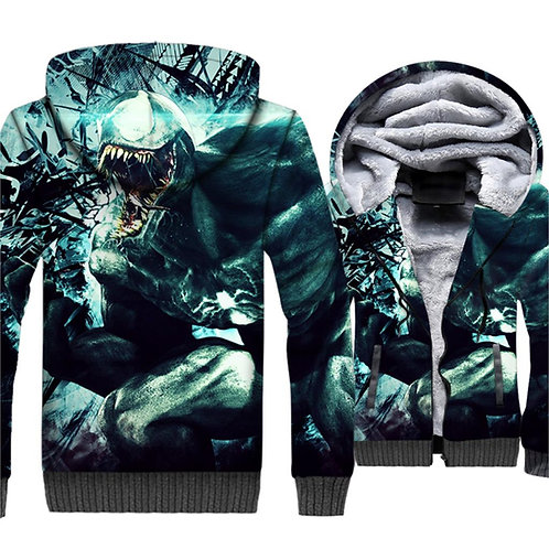 *OFFICIAL-VENOM-SKULL-MOVIE/3D-CUSTOM-PRINTED-WARM-SHERPA-FLEECE-LINED-JACKETS*