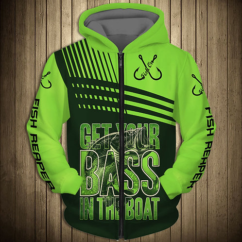 OFFICIAL-SPORT-BASS-FISHING-ZIPPERED-HOODIES/CUSTOM-3D-PRINTED-THE-FISH-REAPER!!