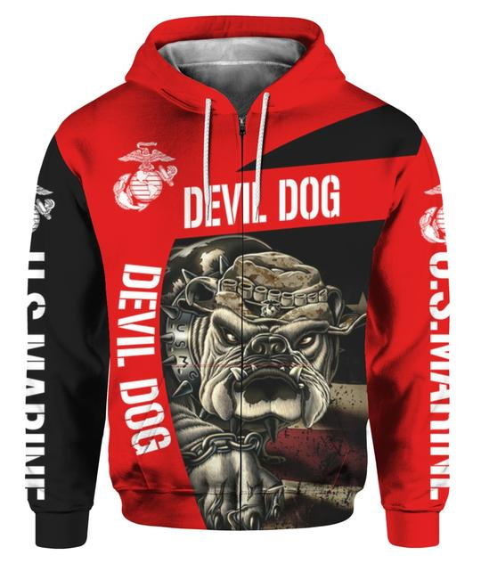 OFFICIAL-U.S.MARINES-ZIPPERED-HOODIES/CUSTOM-3D-GRAPHIC-PRINTED-COMBAT-DEVIL-DOG