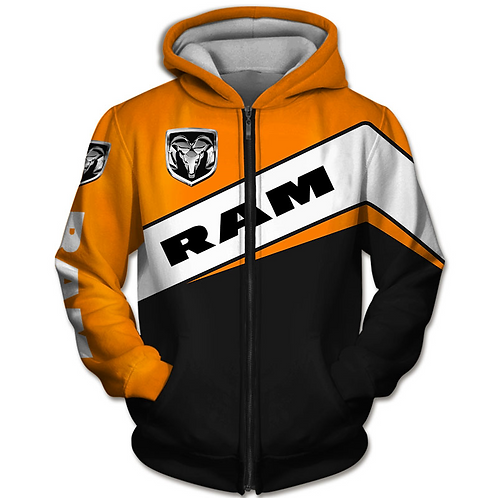 OFFICIAL-DODGE-RAM-ZIPPERED-HOODIES/CUSTOM-3D-GRAPHIC-PRINTED-DODGE-RAM-DESIGN!!