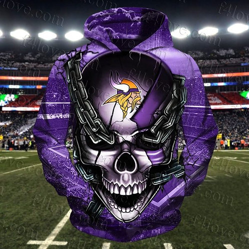 N.F.L.MINNESOTA-VIKINGS-PULLOVER-HOODIES/OFFICIAL-TEAM-COLORS-BIG-SKULL & CHAINS