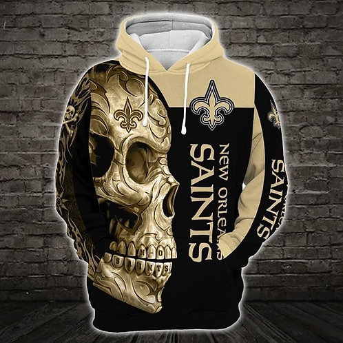 OFFICIAL-N.F.L.NEW-ORLEANS-SAINTS-PULLOVER-HOODIE/CUSTOM-3D-GRAPHIC-TRIBAL-SKULL
