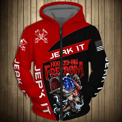 OFFICIAL-SPORT-FISHING-ZIPPERED-HOODIES/CUSTOM-3D-HOOKED-ON-FREEDOM & JERK-IT!!