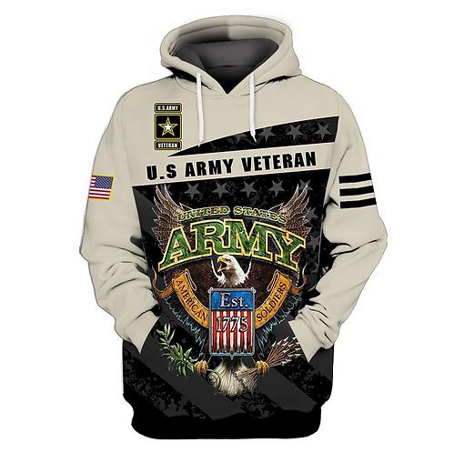 OFFICIAL-U.S.ARMY-VETERAN-ZIPPERED-HOODIES/CUSTOM-3D-PRINT-ARMY-LOGOS-EST.1775!!