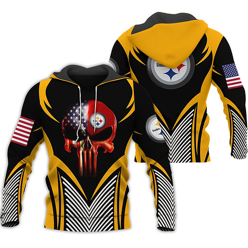 OFFICIAL-N.F.L.PITTSBURGH-STEELERS-PULLOVER-HOODIE/CUSTOM-3D-FLAG-PUNISHER-SKULL