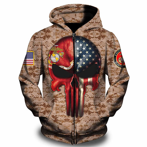 OFFICIAL-U.S.MARINES-ZIPPERED-HOODIES/CUSTOM-3D-GRAPHIC-PRINTED-PUNISHER-SKULL!!