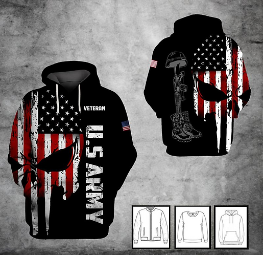 OFFICIAL-U.S.ARMY-PULLOVER-HOODIE/CUSTOMIZE-3D-PRINTED-PATROITIC-PUNISHER-SKULL!