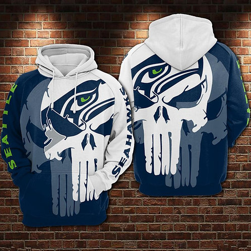 OFFICIAL-N.F.L.SEATTLE-SEAHAWKS/NEW-CUSTOM-3D-PRINTED-TEAM-COLOR-PUNISHER-SKULL!