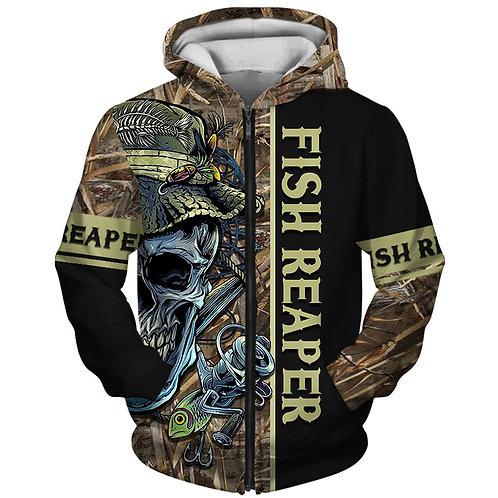 OFFICIAL-FISHING-SKULL-CAMO.ZIPPERED-HOODIES/CUSTOM-3D-PRINTED-THE-FISH-REAPER!!