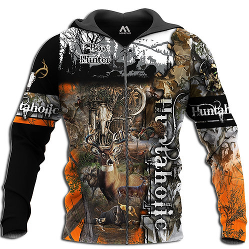 HUNTERAHOLIC-CAMO.ZIPPERED-HOODIES/BOW-HUNTERS-CUSTOM-3D-GRAPHIC-PRINTED-DESIGN!