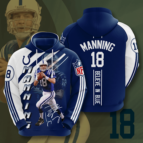 OFFICIAL-N.F.L.INDIANAPOLIS-COLTS-TEAM-PULLOVER-HOODIES/CUSTOM-3D-PAYTON-MANNING