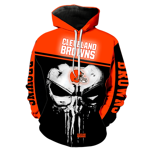 OFFICIAL-N.F.L.CLEVELAND-BROWNS-TEAM-PULLOVER-HOODIES/CUSTOM-3D-PUNISHER-SKULL!!