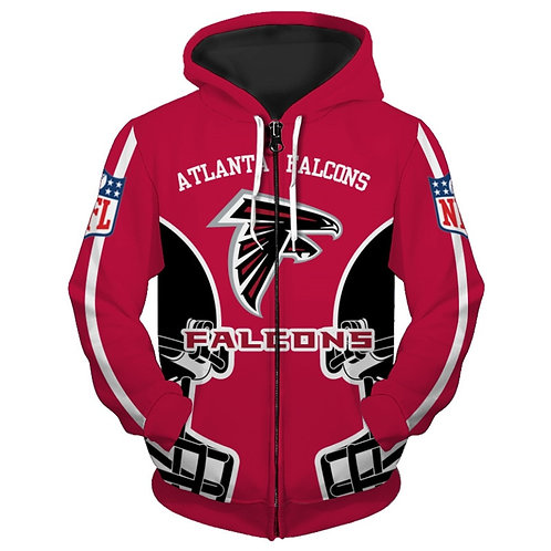 **(NEW-OFFICIALLY-LICENSED-N.F.L.ATLANTA-FALCONS-TRENDY-ZIPPERED-TEAM-HOODIES)**