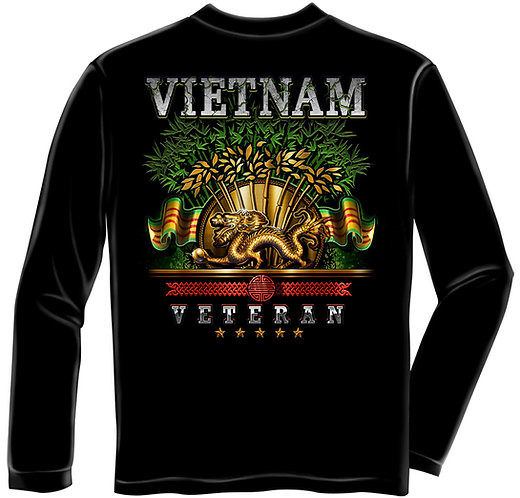OFFICIAL-MILITARY-VIETNAM-VETERAN & GOLDEN-DRAGON/GRAPHIC-PRINT-LONG-SLEEVE-TEES
