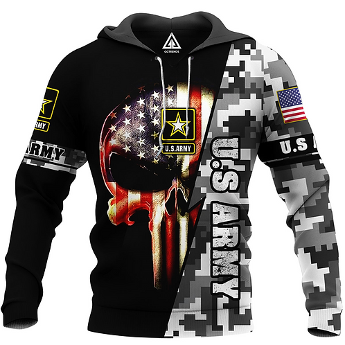 OFFICIAL-U.S.ARMY-CAMO.PULLOVER-HOODIES/CUSTOM-3D-PRINTED-PATRIOT-PUNISHER-SKULL