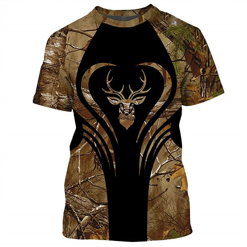 OFFICIAL-3D-WOODLAND-CAMO.TEES/3D-CUSTOM-GRAPHIC-PRINTED-DOUBLE-SIDED-DEER-TEES!