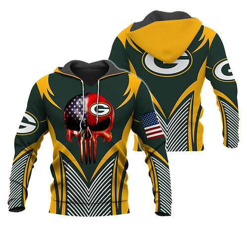 OFFICIAL-N.F.L.GREEN-BAY-PACKERS-PULLOVER-HOODIE/CUSTOM-3D-FLAG-PUNISHER-SKULL!!