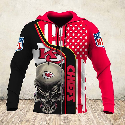 OFFICIAL-N.F.L.KANSAS-CITY-CHIEFS-FASHION-ZIPPERED-TEAM-HOODIES/CUSTOM-3D-DESIGN