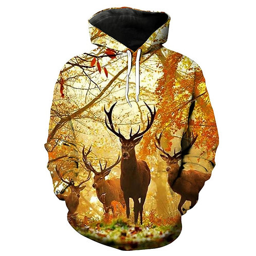 *DEEP-WOODS-TROPHY-BUCK-DEER-BUNCH/3-D-CUSTOM-DETAILED-GRAPHIC-PRINTED-HOODIES*
