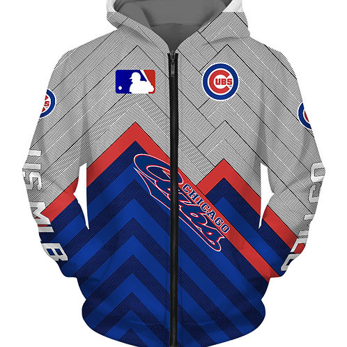 *OFFICIAL-M.L.B.CHICAGO-CUBS-TEAM-ZIPPERED-HOODIES/NEW-3D-CUSTOM-PRINTED-DESIGN*