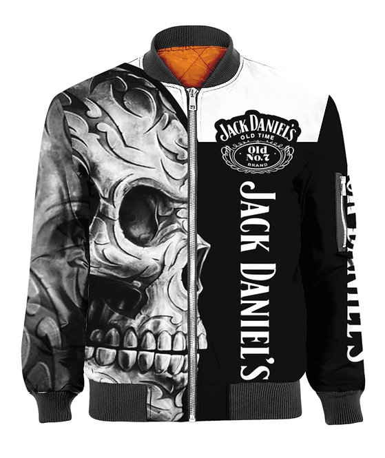 OFFICIAL-JACK-DANIELS-FLIGHT-JACKETS/NEW-CUSTOM-3D-TRIBAL-SKULL & OLD-NO.7-BRAND