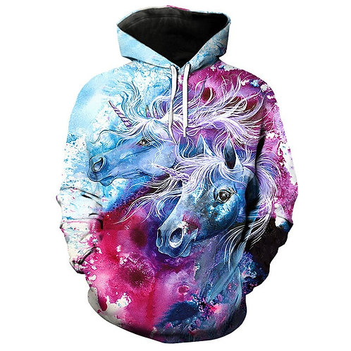 BEAUTIFULLY-BRIGHTLY-COLORED-MYTHICAL-FANTASY-UNICORN/CUSTOM-3D-PULLOVER-HOODIES