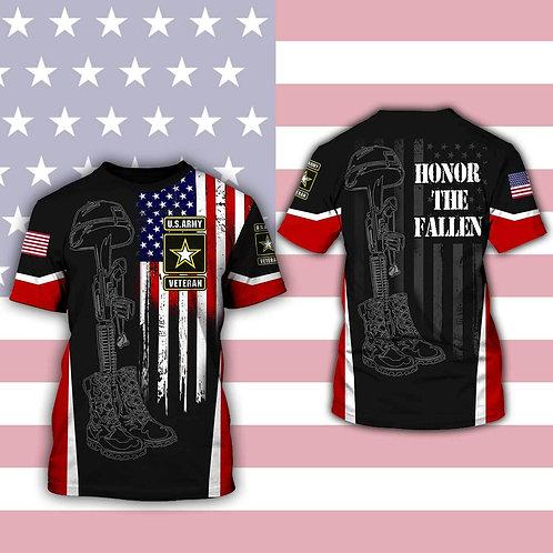 OFFICIAL-U.S.ARMY-SHORT-SLEEVE-TEES/CUSTOM-3D-PRINTED-PRINTED & HONOR-THE-FALLEN