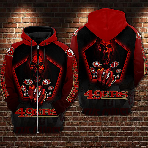 OFFICIAL-N.F.L.SAN-FRANCISCO-49ERS-ZIPPERED-HOODIE/CUSTOM-3D-TEAM-HOODED-SKULL!!