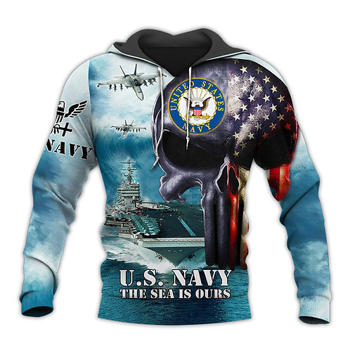 OFFICIAL-U.S.NAVY-VETERAN-PULLOVER-HOODIE/CUSTOM-PATROITIC-FLAG-PUNISHER-SKULL!