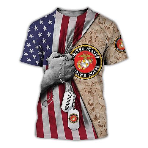 OFFICIAL-U.S.MARINE-VETERANS-SHORT-SLEEVE-TEES/CUSTOM-3D-PRINTED-FLAG & DOG-TAGS