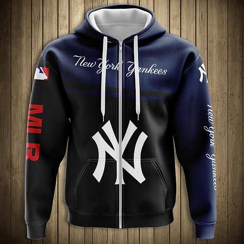 *OFFICIALLY-LICENSED-M.L.B.NEW-YORK-YANKEES/NEW-3D-CUSTOM-ZIPPERED-TEAM-HOODIES*