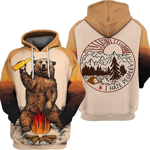 BEAR & CAMPFIRE-DRINKING-A-BEER-HOODIE/3D-CUSTOM-GRAPHIC-PRINTED-CAMPING-HOODIE!