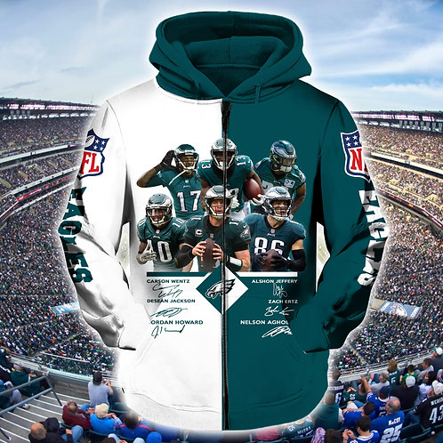 OFFICIAL-N.F.L.PHILADELPHIA-EAGLES-ZIPPERED-HOODIES/CUSTOM-TEAM-LINE-UP-DESIGN!!