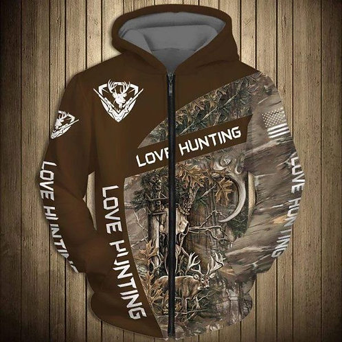 DEER-HUNTERS-CAMO.ZIPPERED-HOODIE/NEW-CUSTOM-3D-PRINTED-TROPHY-DEER-BUCK-DESIGN!
