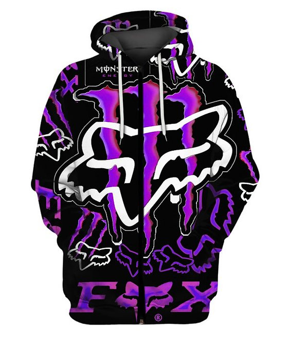 OFFICIAL-FOX-RACING & MONSTER-ENERGY-ZIPPERED-HOODIES/NEON-3D-GRAPHIC-PRINTED!!