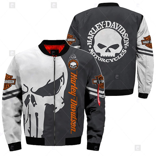 OFFICIAL-HARLEY-DAVIDSON-MOTORCYCLE-FLIGHT-JACKET/CUSTOM-3D-PRINT-PUNISHER-SKULL