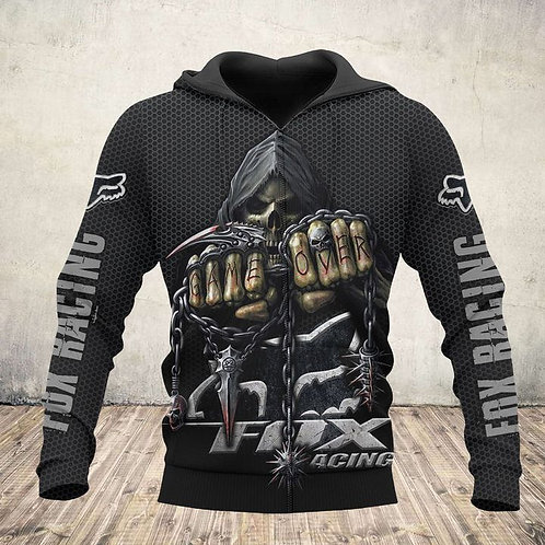 OFFICIAL-FOX-RACING-LOGOS-ZIPPERED-HOODIE/CUSTOM-HOODED-GRIMM-REAPER & GAME-OVER