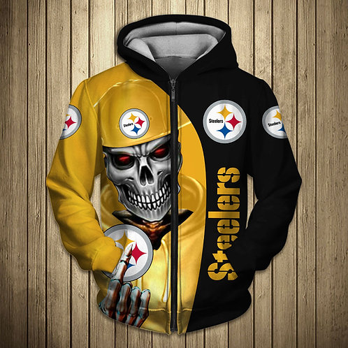 OFFICIAL-N.F.L.PITTSBURGH-STEELERS-TEAM-ZIPPERED-HOODIES/CUSTOM-3D-SKULL-DESIGN!