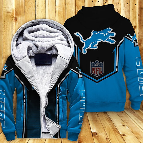 OFFICIAL-N.F.L.DETRIOT-LIONS-FLEECE-ZIPPERED-TEAM-HOODIES/NEW-CUSTOM-3D-DESIGNED