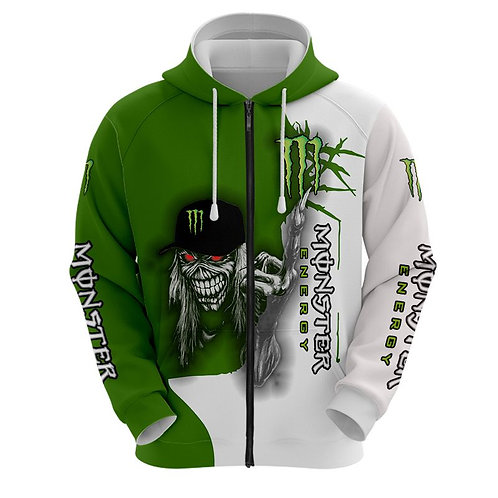 OFFICIAL-MONSTER-ENERGY-LOGOS-ZIPPERED-HOODIES/NEW-CUSTOM-3D-MONSTER-MUMMY-SKULL