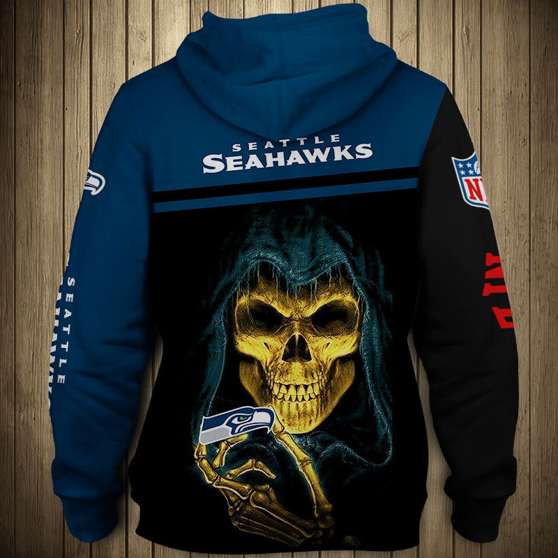OFFICIAL N.F.L.SEATTLE SEAHAWKS TEAM PULLOVER HOODIEGRIM REAPER IN SUDDEN DEATH