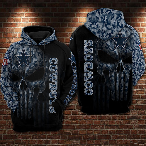 OFFICIAL-N.F.L.DALLAS-COWBOYS-CAMO.PULLOVER-HOODIES/NEW-CUSTOM-3D-PUNISHER-SKULL