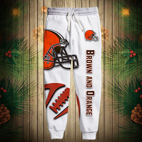 OFFICIAL-N.F.L.CLEVELAND-BROWNS-TEAM-SPORT-SWEAT-PANTS/CUSTOM-3D-BROWN & READY!!