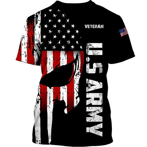 OFFICIAL-U.S.ARMY-MILITARY-TEES/CUSTOMIZE-3D-PRINTED-PATROITIC-PUNISHER-SKULL!!