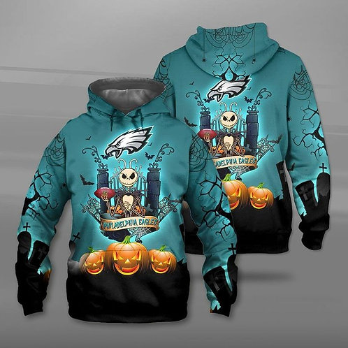 OFFICIAL-N.F.L.PHILADELPHIA-EAGLES-TEAM-PULLOVER-HOODIE/CUSTOM-JACK-SKELLINGTON!