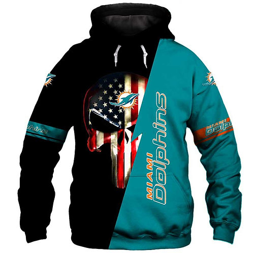 OFFICIAL-N.F.L.MIAMI-DOLPHINS-PULLOVER-HOODIE/CUSTOM-3D-GRAPHIC-PUNISHER-SKULL!!